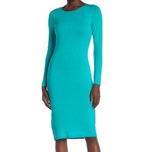 velvet torch turquoise Long Sleeve Midi Dress